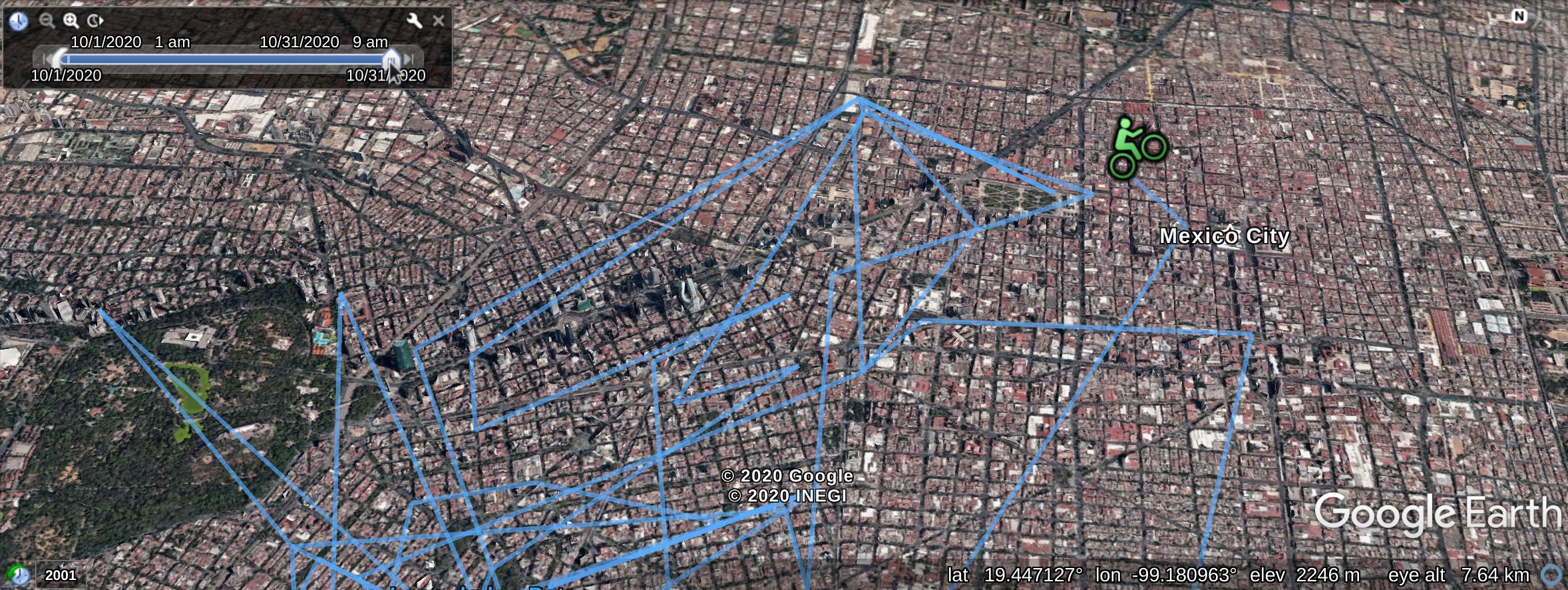 Movimiento sobre una ruta en google Earth